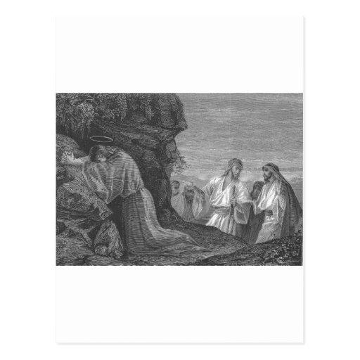 Jesús en rezo circa 1874 tarjetas postales