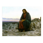 Jesús en una roca en el desierto postal