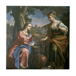 Jesús enseña a la mujer del samaritano azulejo cuadrado pequeño