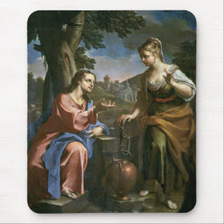 Jesús enseña a la mujer del samaritano tapetes de raton