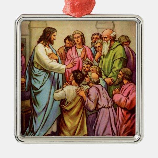 Jesús enseña a un nuevo mandamiento adorno para reyes