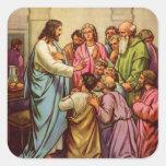Jesús enseña a un nuevo mandamiento colcomanias cuadradass