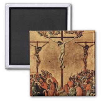 Jesús entre dos ladrones imán cuadrado