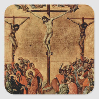 Jesús entre dos ladrones pegatina cuadrada