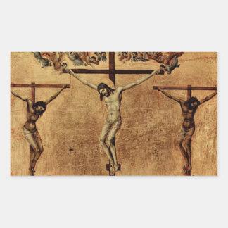 Jesús entre dos ladrones pegatina rectangular