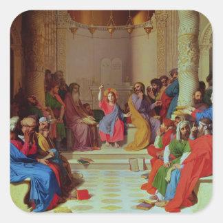 Jesús entre los doctores, 1862 pegatina cuadrada