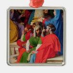 Jesús entre los doctores adorno navideño cuadrado de metal