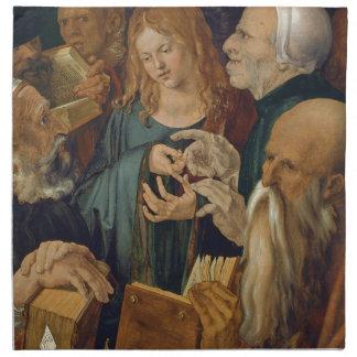 Jesús entre los doctores de Albrecht Durer Servilleta