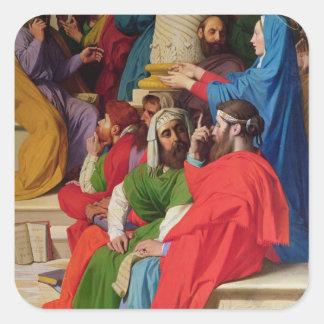 Jesús entre los doctores pegatina cuadrada