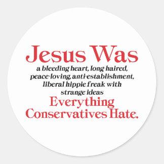 Jesús era un corazón sangrante pegatinas redondas