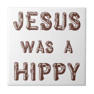 Jesús era un hippy - de madera azulejo cuadrado pequeño
