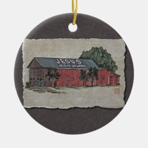 Jesús es el granero de la respuesta adorno navideño redondo de cerámica