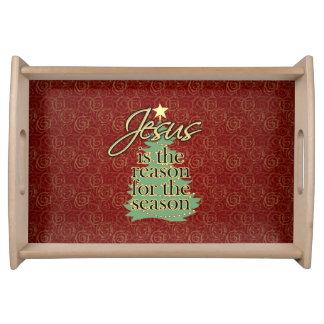 Jesús es el navidad del cristiano de la razón bandejas