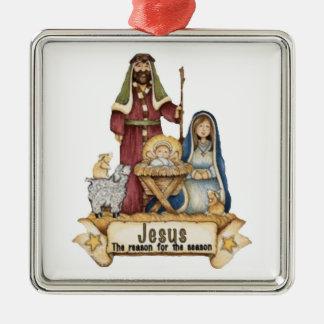 Jesús es el ornamento cuadrado superior de la adorno cuadrado plateado