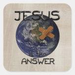 Jesús es el regalo del cristiano de la respuesta calcomanías cuadradass
