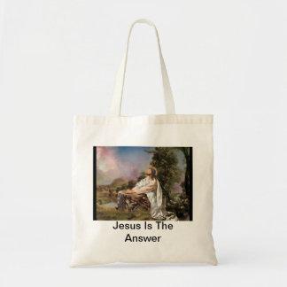 Jesús es el tote de la respuesta bolsa tela barata