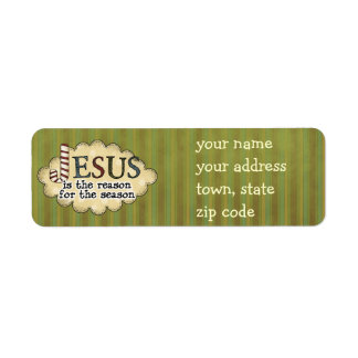 Jesús es la etiqueta del remite del navidad de la etiquetas de remite