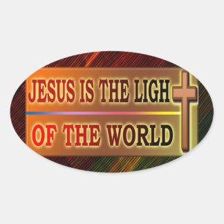 JESÚS ES LA LUZ PEGATINAS OVALADAS PERSONALIZADAS