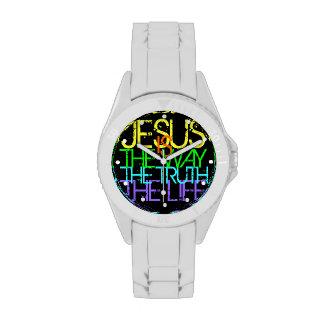 Jesús es la manera, la verdad, el neón de la vida relojes de mano
