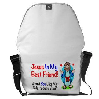 Jesús es la mi bolsa de mensajero del mejor amigo bolsas de mensajeria