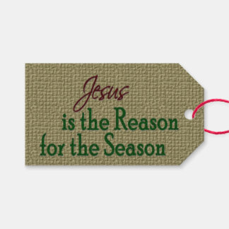 Jesús es la razón de la estación en la arpillera etiquetas para regalos