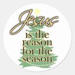 Jesús es la razón de la estación, navidad pegatina redonda