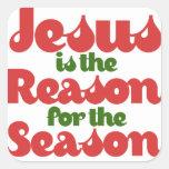 Jesús es la razón de la estación pegatinas cuadradases