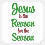 Jesús es la razón de la estación pegatinas cuadradases personalizadas