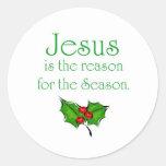 Jesús es la razón de la estación etiquetas redondas