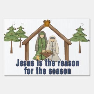 Jesús es la razón de la muestra del navidad de la  letreros