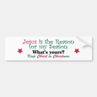 Jesús es la razón de mi estación etiqueta de parachoque