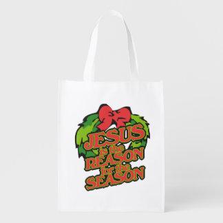 Jesús es la razón del navidad de la estación bolsa reutilizable