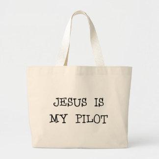 Jesús es mi piloto bolsa tela grande