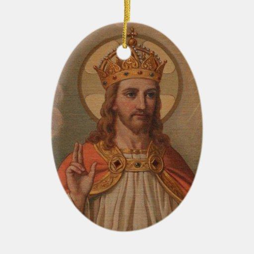 Jesús es ornamento de la pintura del vintage del ornamento de navidad
