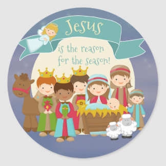 """""""Jesús es pegatina del navidad de la natividad de"""