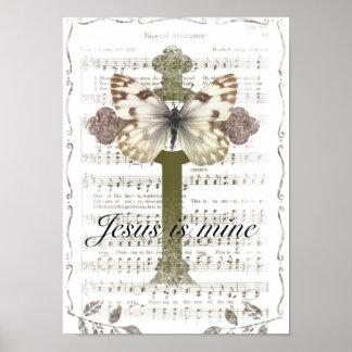 Jesús es poster de la mariposa de la mina