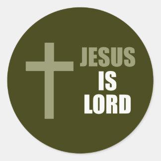 Jesús es señor y salvador y la luz pegatina redonda