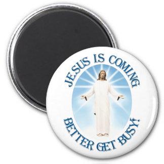 Jesús está viniendo imán redondo 5 cm