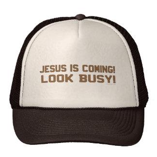 Jesús está viniendo - parezca ocupado gorros bordados