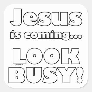 Jesús está viniendo… calcomanias cuadradas