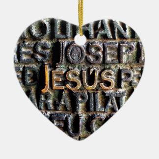 Jesus etched metal ceramic ornament