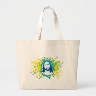 Jesus face flower solid blue bag