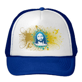 Jesus face flower solid blue mesh hats