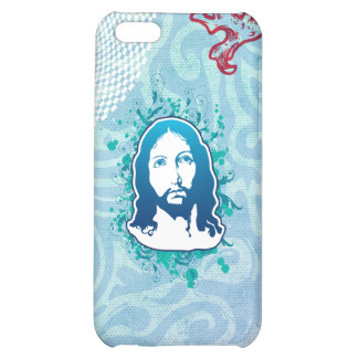 Jesus face flower solid blue iPhone 5C cases