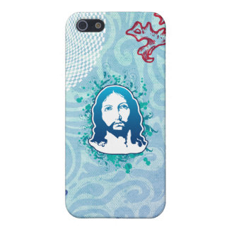 Jesus face flower solid blue case for iPhone 5