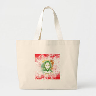 Jesus face green line focused tote bag