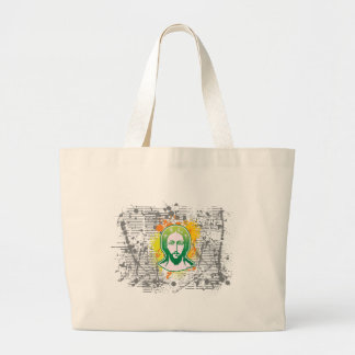 Jesus face green solid focused bags