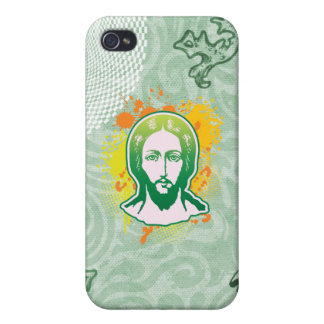 Jesus face green solid focused iPhone 4/4S cover