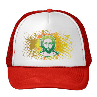 Jesus face green solid focused trucker hat