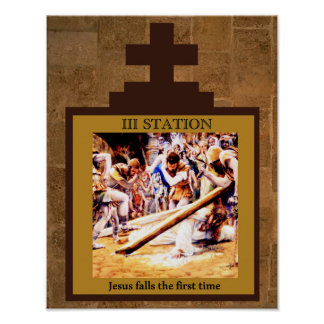 Jesus Falls the First Time Station 3 Poster